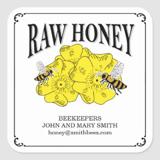 Raw honey labels for beekeepers.