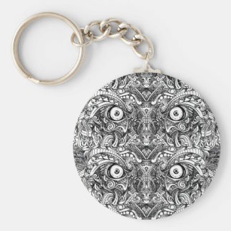 Raw Rough Mean Angry Evil Eyes Sharp Detailed Hand Basic Round Button Key Ring