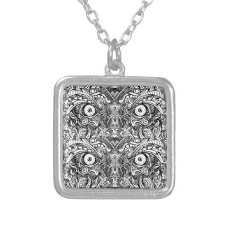 Raw Rough Mean Angry Evil Eyes Sharp Detailed Hand Silver Plated Necklace