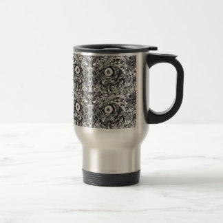 Raw Rough Mean Angry Evil Eyes Sharp Detailed Hand Travel Mug