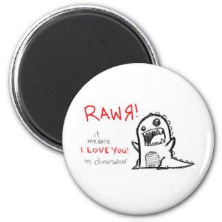 rawr 6 cm round magnet