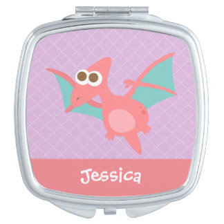 Rawr, Cute Pink Pterodactyl dinosaur For Kids Makeup Mirror