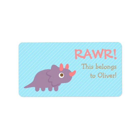 Rawr, Cute Purple Triceratops dinosaur For Kids Label