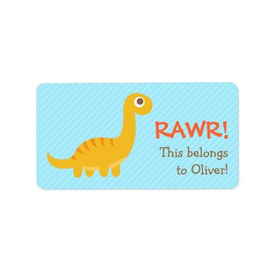 Rawr, Cute Yellow Brachiosaurus dinosaur For Kids Address Label