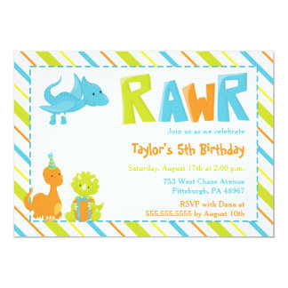 RAWR Dinosaur Birthday Party Invitation