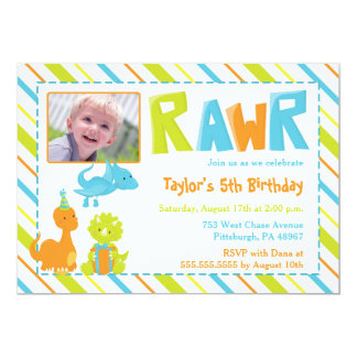 RAWR Dinosaur Birthday Party Photo Invitation