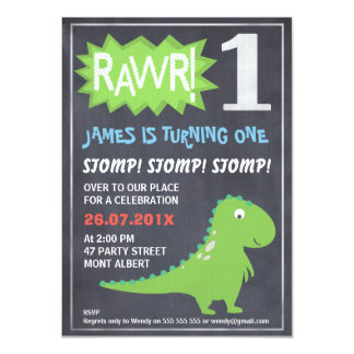 Rawr Dinosaur Chalkboard 1st Birthday Invitation