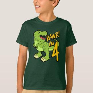 Rawr I'm 4 Cute 4th Birthday Dinosaur Gift T-Shirt