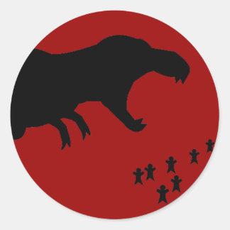 Rawr! T-Rex Round Stickers