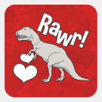 Rawr Tyrannosaurus T Rex Valentine's Day Kids Boys Square Sticker