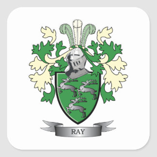 Ray Family Crest Coat of Arms Square Sticker