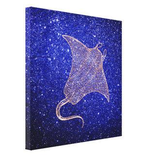 Ray Fish Marine Sea Ocean Life Pink Rose Gold Canvas Print