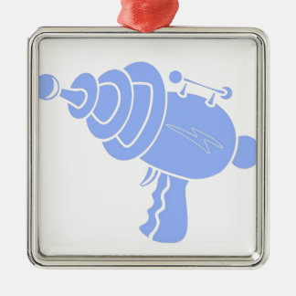 Ray Gun Silver-Colored Square Decoration