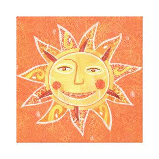 Ray Play Smiling Orange Sun Art Canvas Print
