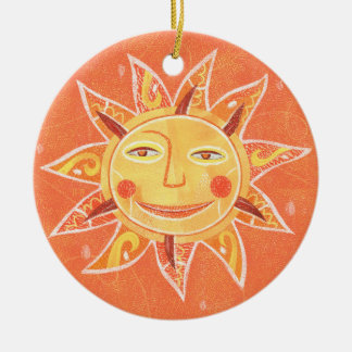Ray Play Smiling Orange Sun Art Ceramic Ornament