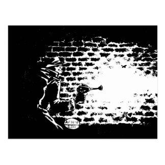 Raygun Noir postcard, artwork by Michael Avolio Postcard