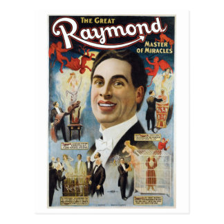 Raymond The Great ~ Miracles Vintage Magic Act Postcard