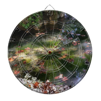 rays and leaves on water dartboard
