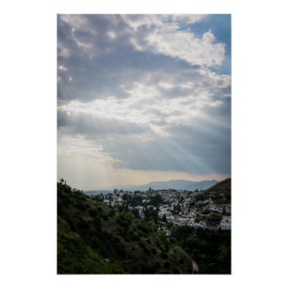 Rays of sunlight filtered through storm clouds poster