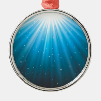 Rays Sun beam inspirational Silver-Colored Round Decoration