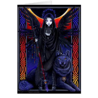Rayvnwolf Celestial Guardian Angel Wolf Card