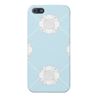 RDP white flowers on blue iPhone 5 Case