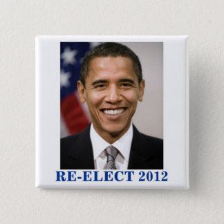 RE-ELECT OBAMA 2012 15 CM SQUARE BADGE