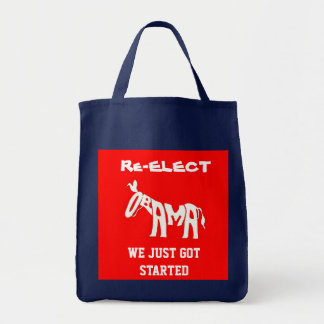 Re-Elect Obama Donkey tote bag