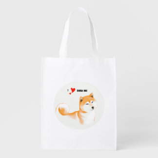 Re-usable stock market Shiba inu Reusable Grocery Bag