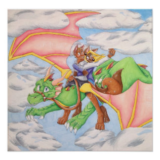 Reach for the Clouds Dragon Poster