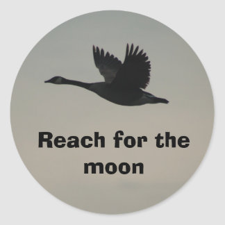 Reach for the moon classic round sticker