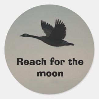 Reach for the moon round sticker