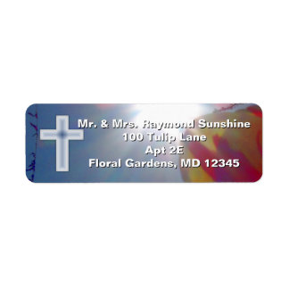 Reach for the Sky BAPTISM WITH CROSS Return Address Label