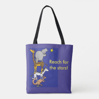 reach for the stars animal friends tote bag