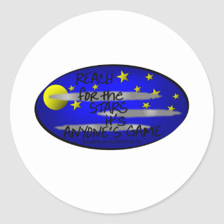 REACH FOR THE STARS IT'S ANYONE'S GAME CLASSIC ROUND STICKER