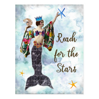 Reach for the stars postcard notecard mermaid