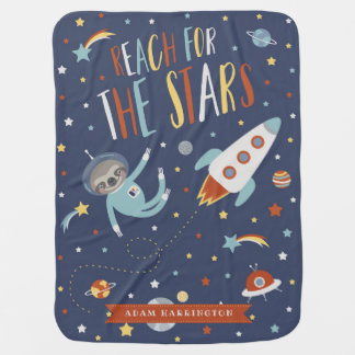 Reach for the Stars - Space Sloth - Custom Name Baby Blanket