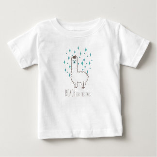 """Reach For The Stars"" Sweet Llama Illustration Baby T-Shirt"
