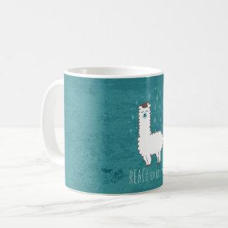 """Reach For The Stars"" Sweet Llama Illustration Coffee Mug"