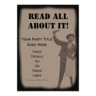 READ ALL ABOUT IT! Newspaper Headline Party Invite