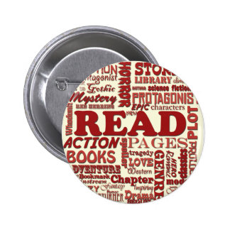 Read all about it red! 6 cm round badge