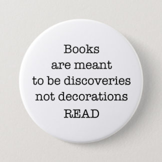 """Read Books Large 3"""" White and Black Button"""