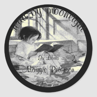 Read by Moonlight Vintage Bookplate Classic Round Sticker