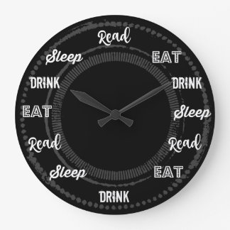 Read Eat Drink Sleep Repeat Large Clock