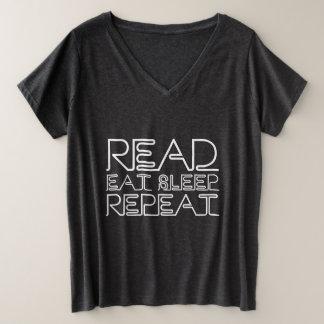 Read, Eat, Sleep, Repeat Plus Size V-Neck T-Shirt