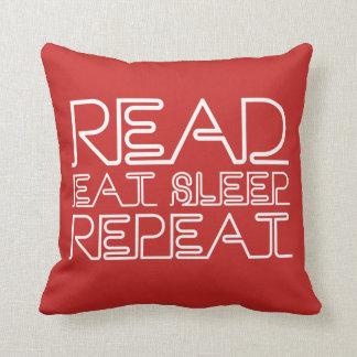 Read, Eat, Sleep, Repeat Red Cushion