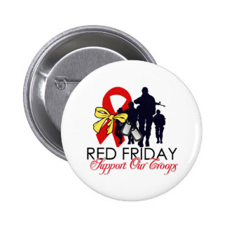 Read Friday - Support Our Troops 6 Cm Round Badge