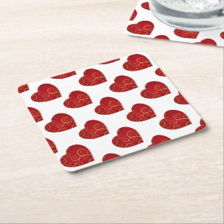Read love heart for Valentine's Day Square Paper Coaster