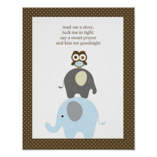 Read me a story owl elephant boy nursery art poster