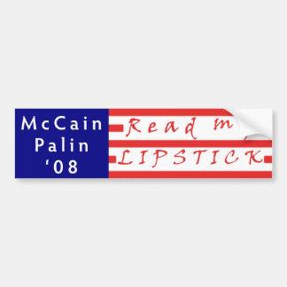 Read my LIPSTICK McCain Palin '08 Bumper Sticker